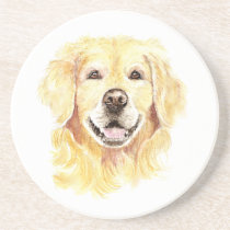 Golden Retriever Dog Pet Animal watercolor Coaster