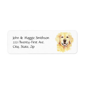 Golden Retriever Dog Pet Animal watercolor Return Address Label