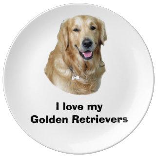 Golden Retriever dog photo Porcelain Plate