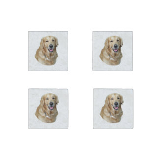 Golden Retriever dog photo portrait Stone Magnet