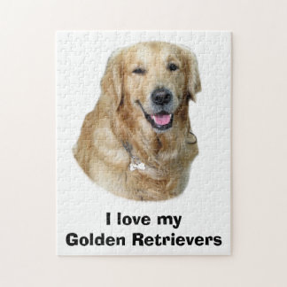 Golden Retriever dog photo portrait Jigsaw Puzzle