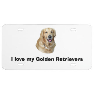 Golden Retriever dog photo portrait License Plate