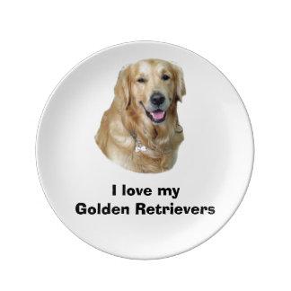 Golden Retriever dog photo portrait Porcelain Plates
