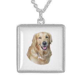 Golden Retriever dog photo portrait Sterling Silver Necklace