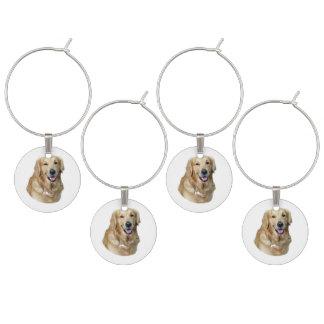 Golden Retriever dog photo portrait Wine Glass Charm