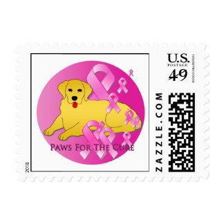 Golden Retriever Dog Pink Ribbon Postage