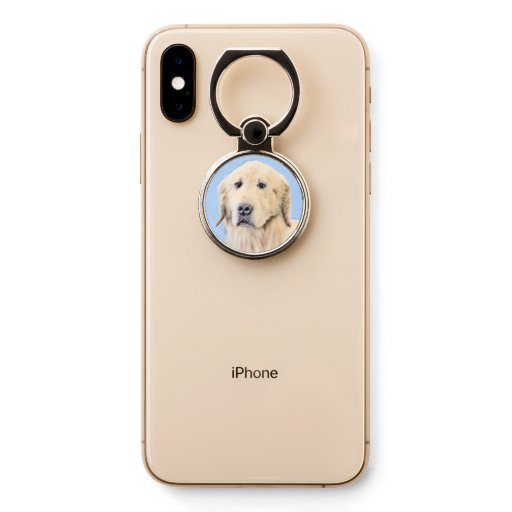 Golden Retriever dog portrait, original painting. Phone Ring Stand