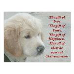 Golden Retriever dog puppy Christmas postcard