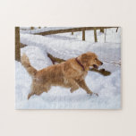 """Golden Retriever Dog Puzzle<br><div class=""""desc"""">A beautiful golden retriever dog running through the snow makes this a terrific puzzle.   Customize the image by adding your own caption.</div>"""