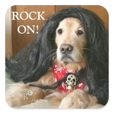 Halloween Themed Golden Retriever Dog Rock On Halloween Costume Square Sticker