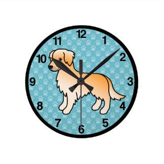 Golden Retriever Dog Round Clock