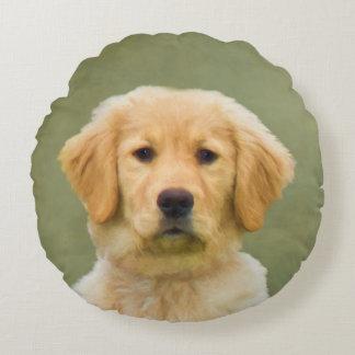 Golden Retriever Dog Round Pillow
