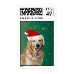 Golden Retriever dog santa hat Christmas postage