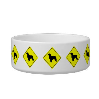 Golden Retriever Dog Silhouette Crossing Sign Pet Food Bowls