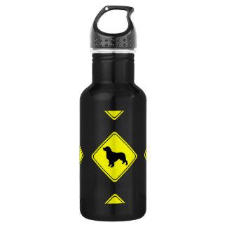 Golden Retriever Dog Silhouette Crossing Sign 18oz Water Bottle