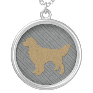 Golden Retriever Dog Silhouette on Blue Pinstripes Round Pendant Necklace