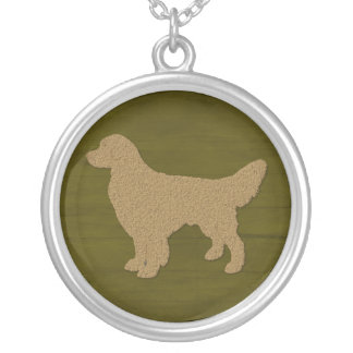 Golden Retriever Dog Silhouette On Olive Green Round Pendant Necklace