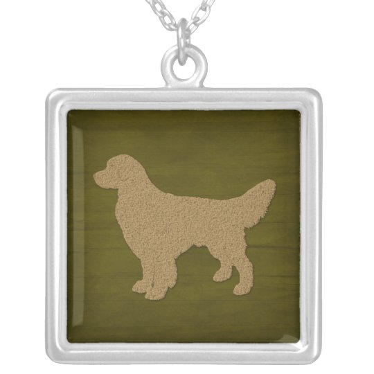 Golden Retriever Dog Silhouette Silver Plated Necklace