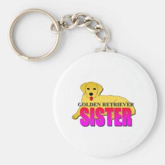 Golden Retriever Dog Sister Basic Round Button Keychain