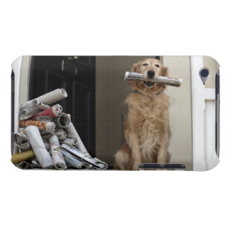 Golden retriever dog sitting at front door iPod touch cover