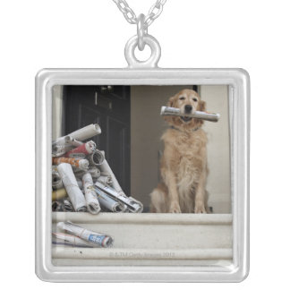 Golden retriever dog sitting at front door silver plated necklace