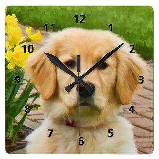 Golden Retriever Dog Square Wallclocks
