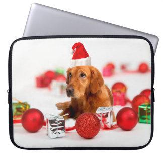 Golden Retriever Dog W Red Santa Hat Christmas Computer Sleeve