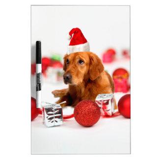 Golden Retriever Dog W Red Santa Hat Christmas Dry-Erase Board