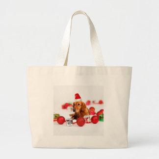 Golden Retriever Dog W Red Santa Hat Christmas Large Tote Bag