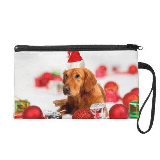 Golden Retriever Dog W Red Santa Hat Christmas Wristlet Purse