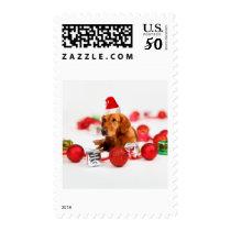 Golden Retriever Dog W Red Santa Hat Postage