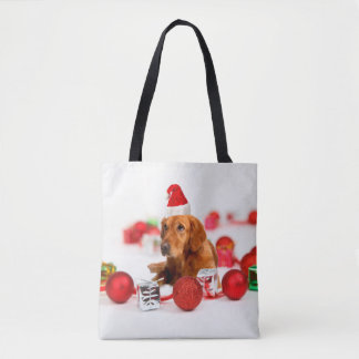 Golden Retriever Dog W Red Santa Hat Tote Bag