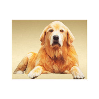 Golden retriever Dog Water Color Art Painting Canvas Print