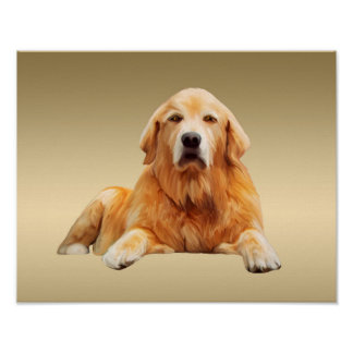 Golden retriever Dog Water Color Art Painting Poster