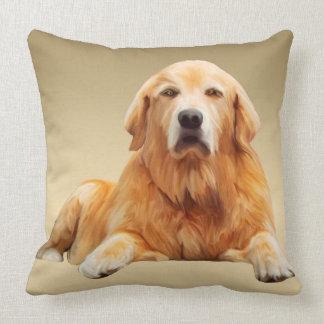 Golden Retriever Dog Water Color Art Painting Throw Pillow