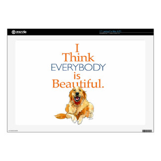 "Golden Retriever dog watercolor everyone beautiful Decal For 17"" Laptop"