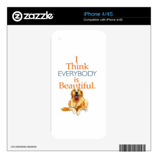 Golden Retriever dog watercolor everyone beautiful Skins For iPhone 4S