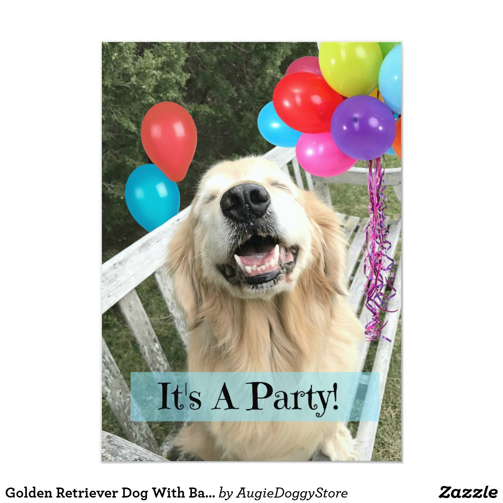 Golden Retriever Dog With Balloons Custom Birthday Invitation