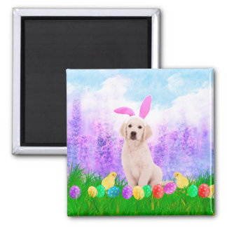 Golden Retriever Dog with Easter Eggs Bunny Chicks Magnet