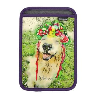 Golden Retriever Dog With Flower Crown Watercolor iPad Mini Sleeve