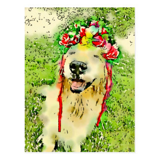 Golden Retriever Dog With Flower Crown Watercolor Postcard