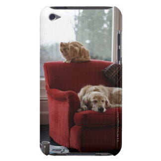 Golden retriever dog with ginger tabby cat iPod touch Case-Mate case