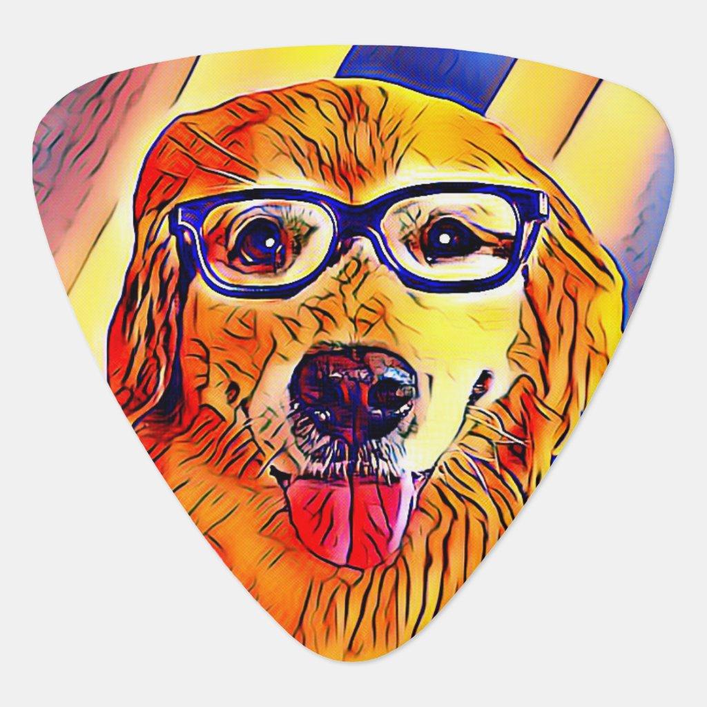 Golden Retriever Dog With Nerd Glasses Graphic Guitar Pick