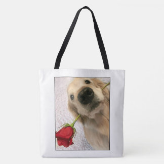 Golden Retriever Dog With Red Rose Tote Bag