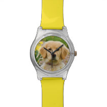 Golden Retriever Dog, Yellow Daffodils Watch