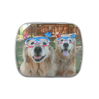 Golden Retriever Dogs in Independence Day Glasses Candy Tins