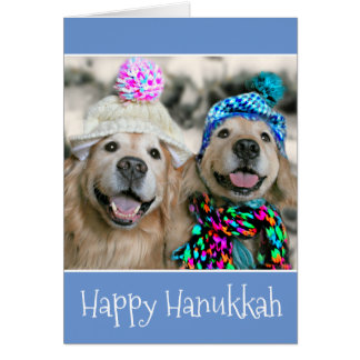 Golden Retriever Dogs in Winter Hats Hanukkah Card