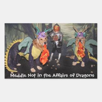 Golden Retriever Dragons Meddle Not Rectangular Sticker