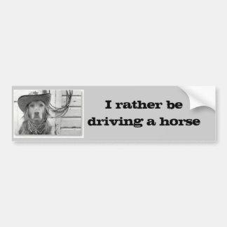 Golden Retriever Driving A Horse  Bumper Sticker