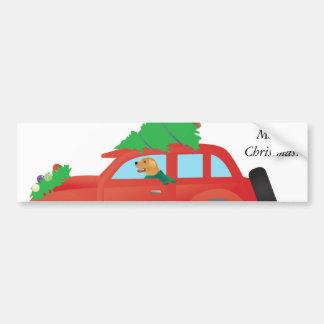 Golden Retriever Driving car with Christmas tree Bumper Sticker